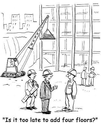 Striptekening van verbouwing waar klant vraagt of er vier verdiepingen bij mogen terwijl het gebouw al half staat.